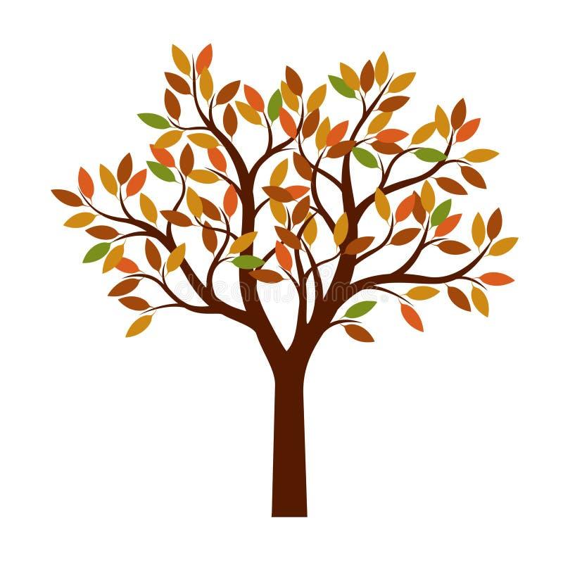 διάνυσμα δέντρων φύλλων έγχρωμης εικονογράφησης φθινοπώρου διανυσματική απεικόνιση