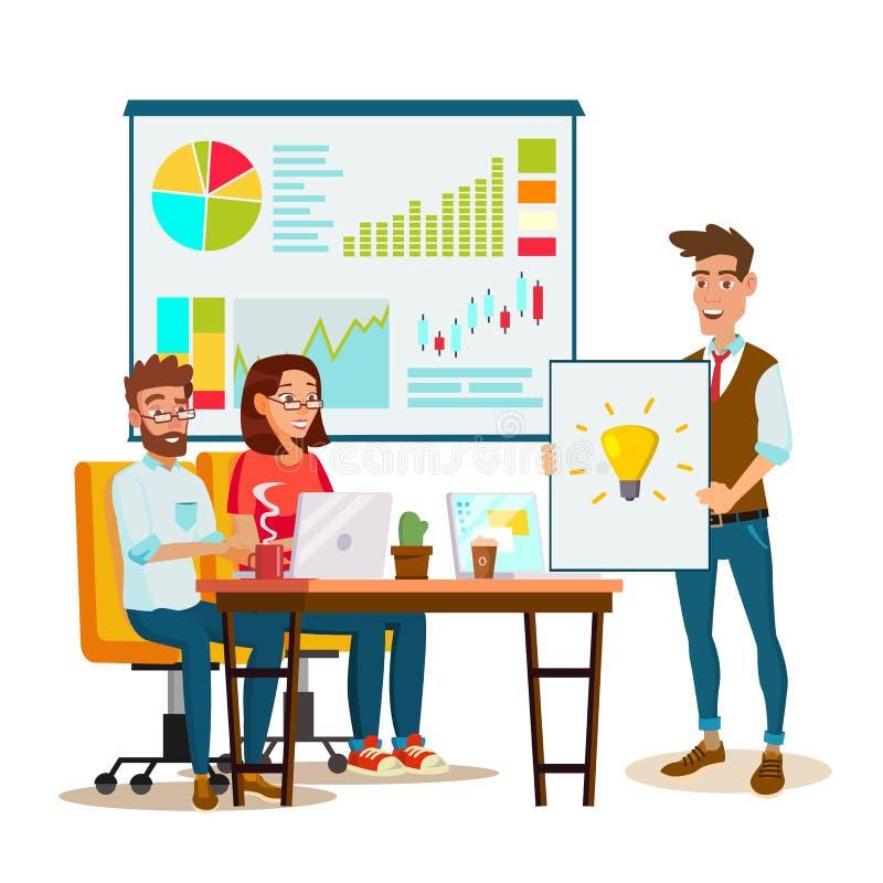 Διάνυσμα διαδικασίας 'brainstorming' Προσωπικό ομαδικής εργασίας γύρω από τον πίνακα Δημιουργική ιδέα ομάδας Ομάδα συνάντησης επι ελεύθερη απεικόνιση δικαιώματος