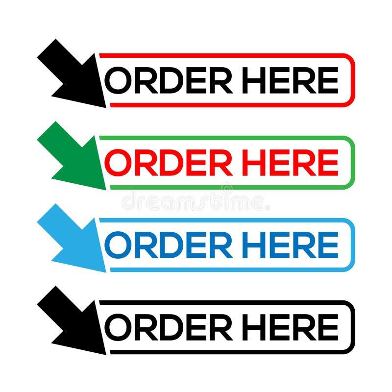 Διάνυσμα διαταγής εδώ για το εικονίδιο, το κουμπί, την ετικέτα, κ.λπ. ελεύθερη απεικόνιση δικαιώματος