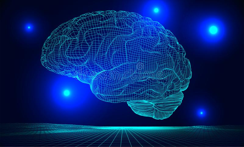 Διάνυσμα εγκεφάλου Wireframe απεικόνιση αποθεμάτων