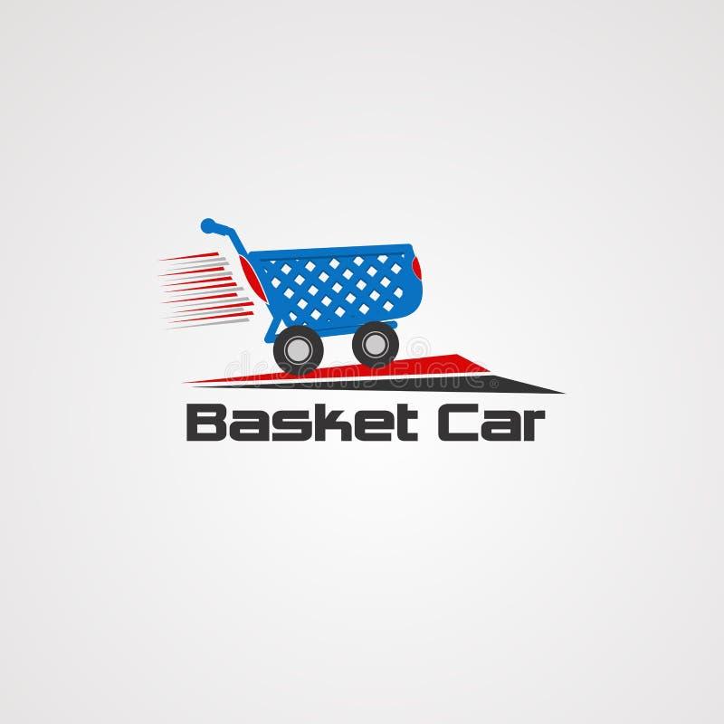 Διάνυσμα, εικονίδιο, στοιχείο, και πρότυπο λογότυπων αυτοκινήτων καλαθιών για την επιχείρηση απεικόνιση αποθεμάτων