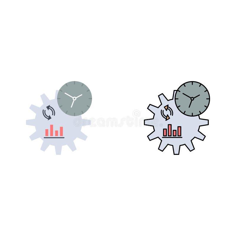 Διάνυσμα εικονιδίου επίπεδου χρώματος για επιχειρήσεις, μηχανική, διαχείριση ελεύθερη απεικόνιση δικαιώματος