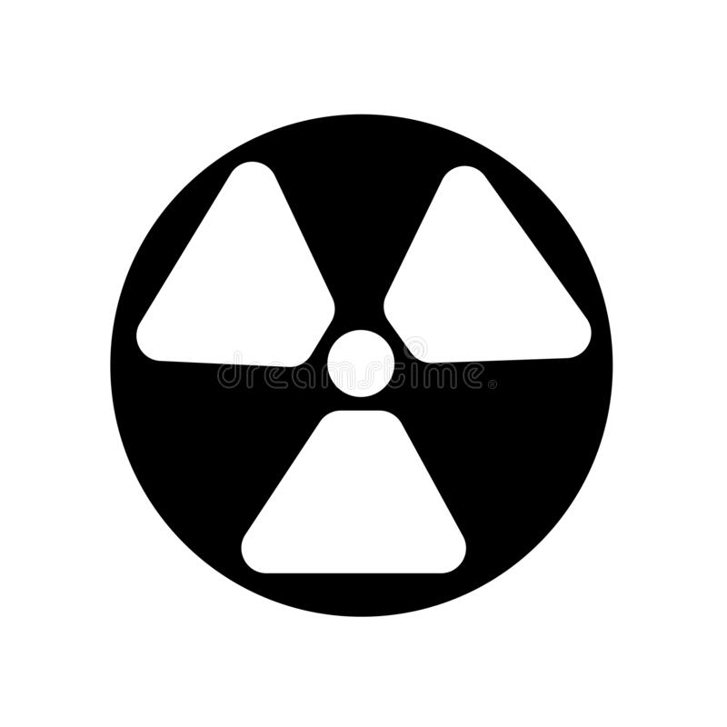 Διάνυσμα εικονιδίων ακτινοβολίας που απομονώνεται στο άσπρο υπόβαθρο, σημάδι ακτινοβολίας διανυσματική απεικόνιση
