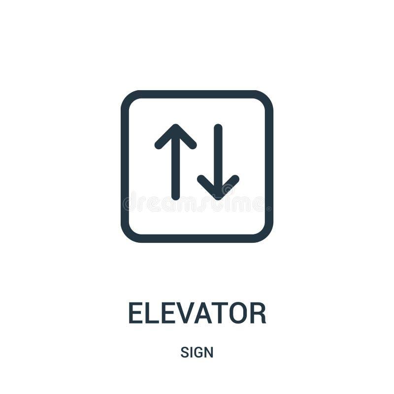 διάνυσμα εικονιδίων ανελκυστήρων από τη συλλογή σημαδιών Λεπτή διανυσματική απεικόνιση εικονιδίων περιλήψεων ανελκυστήρων γραμμών διανυσματική απεικόνιση