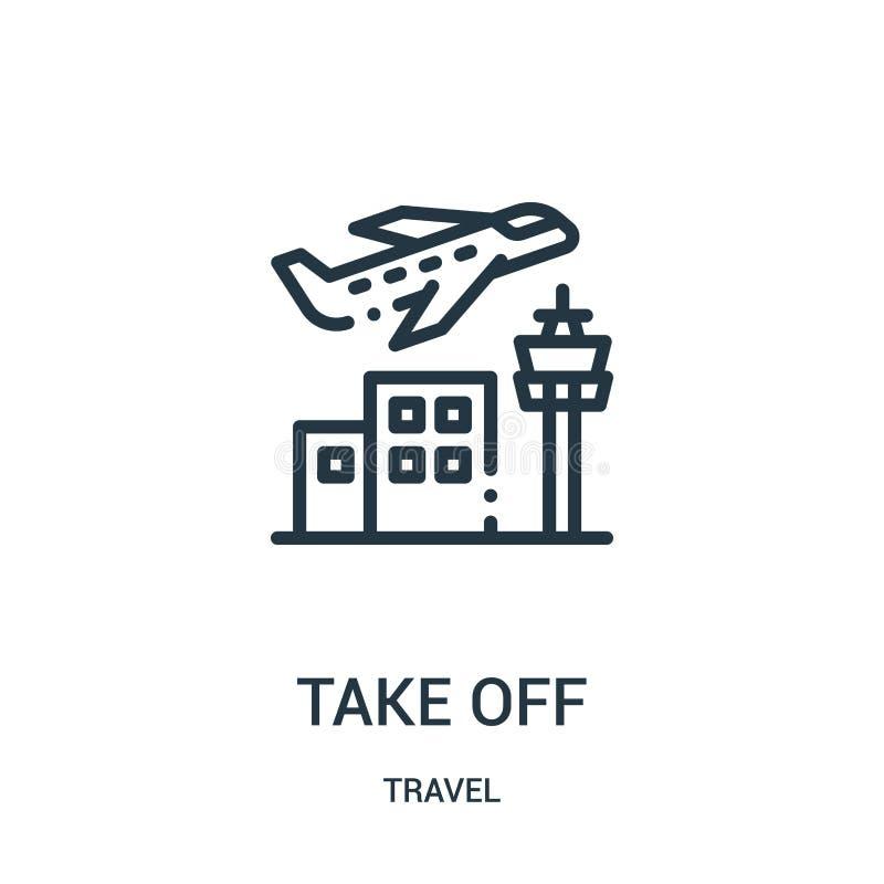 διάνυσμα εικονιδίων απογείωσης από τη συλλογή ταξιδιού Λεπτή διανυσματική απεικόνιση εικονιδίων περιλήψεων απογείωσης γραμμών Γρα διανυσματική απεικόνιση