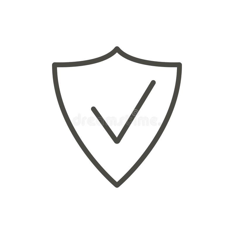 Διάνυσμα εικονιδίων ασπίδων Ασφάλεια περιλήψεων Σύμβολο προστασίας γραμμών ελεύθερη απεικόνιση δικαιώματος