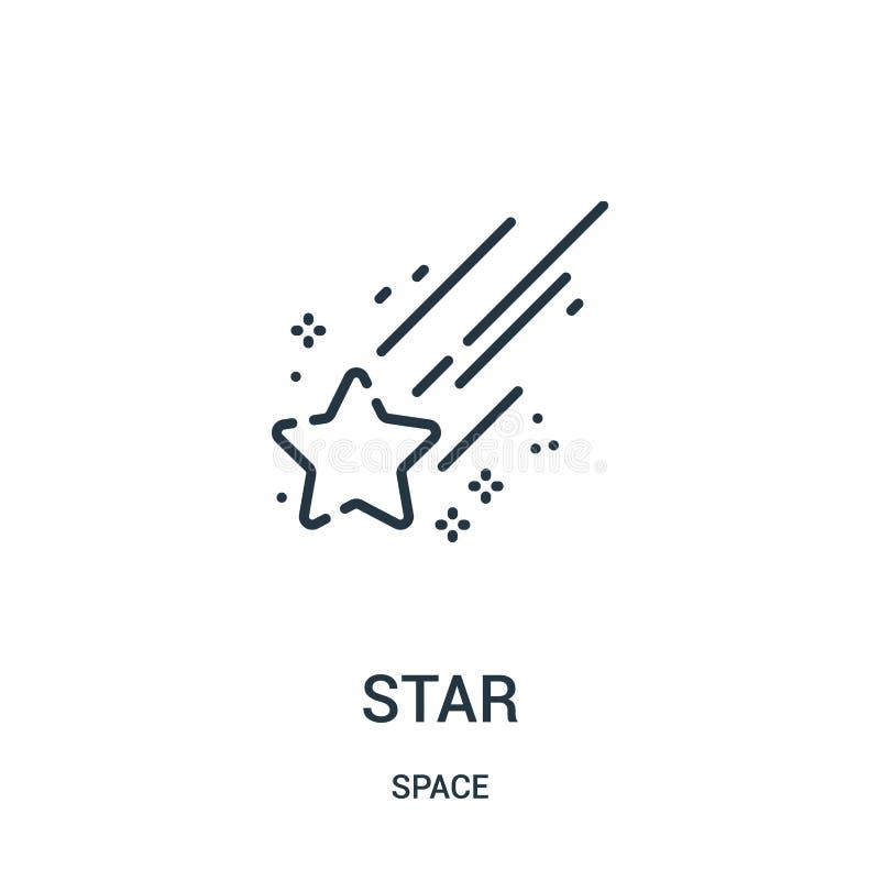 Διάνυσμα εικονιδίων αστεριών από τη διαστημική συλλογή Λεπτή διανυσματική απεικόνιση εικονιδίων περιλήψεων αστεριών γραμμών ελεύθερη απεικόνιση δικαιώματος