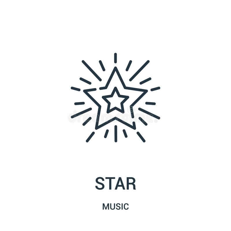 διάνυσμα εικονιδίων αστεριών από τη συλλογή μουσικής Λεπτή διανυσματική απεικόνιση εικονιδίων περιλήψεων αστεριών γραμμών ελεύθερη απεικόνιση δικαιώματος
