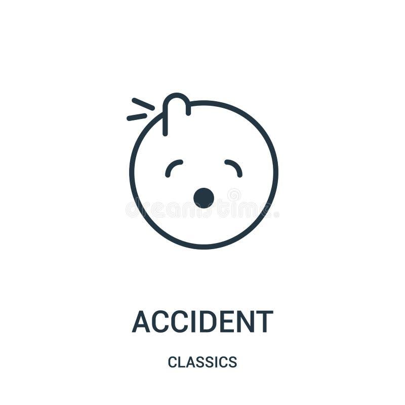 διάνυσμα εικονιδίων ατυχήματος από τη συλλογή κλασικών Λεπτή διανυσματική απεικόνιση εικονιδίων περιλήψεων ατυχήματος γραμμών Γρα ελεύθερη απεικόνιση δικαιώματος