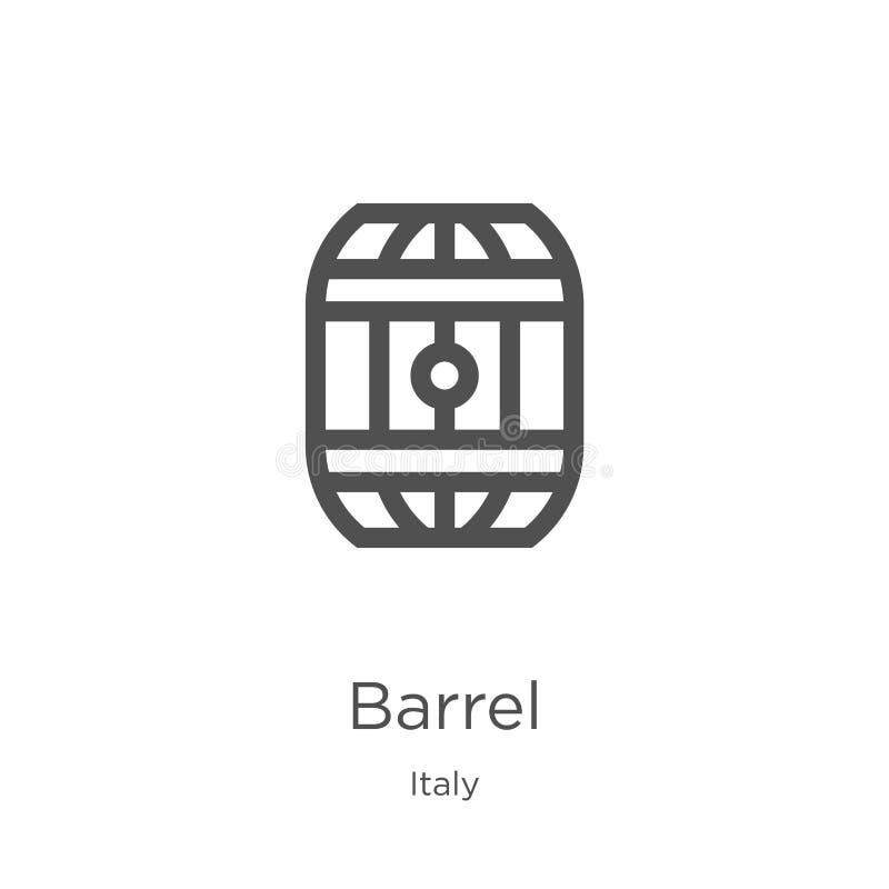 διάνυσμα εικονιδίων βαρελιών από τη συλλογή της Ιταλίας Λεπτή διανυσματική απεικόνιση εικονιδίων περιλήψεων βαρελιών γραμμών Περί διανυσματική απεικόνιση