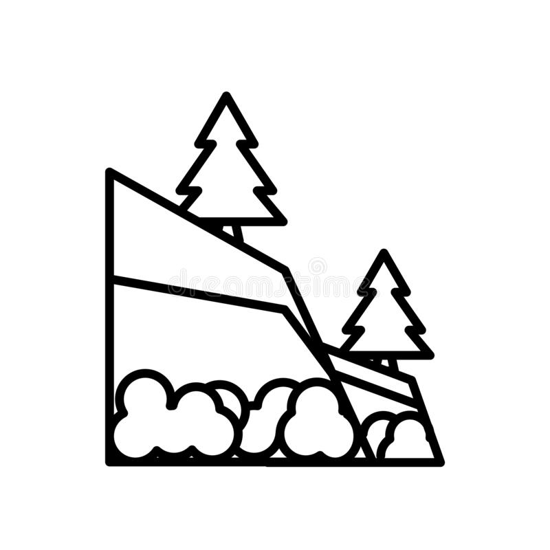 Διάνυσμα εικονιδίων γεωλογίας που απομονώνεται στο άσπρο υπόβαθρο, το σημάδι γεωλογίας, τη γραμμή ή το γραμμικό σημάδι, σχέδιο στ απεικόνιση αποθεμάτων