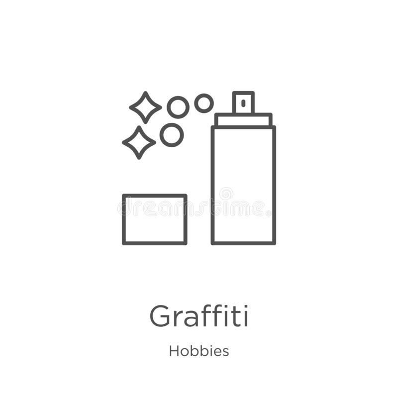 διάνυσμα εικονιδίων γκράφιτι από τη συλλογή χόμπι Λεπτή διανυσματική απεικόνιση εικονιδίων περιλήψεων γκράφιτι γραμμών Περίληψη,  ελεύθερη απεικόνιση δικαιώματος