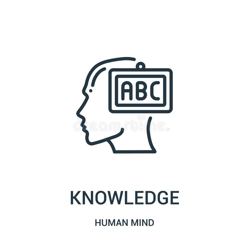 διάνυσμα εικονιδίων γνώσης από την ανθρώπινη συλλογή μυαλού Λεπτή διανυσματική απεικόνιση εικονιδίων περιλήψεων γνώσης γραμμών Γρ απεικόνιση αποθεμάτων