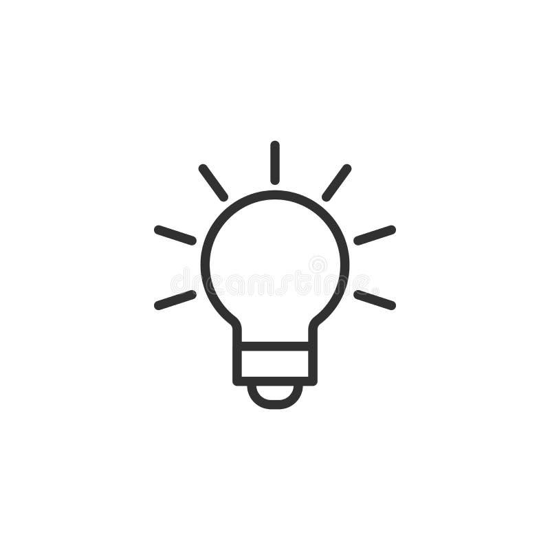 Διάνυσμα εικονιδίων γραμμών λαμπών φωτός, που απομονώνεται στο άσπρο υπόβαθρο Σημάδι ιδέας, λύση, έννοια σκέψης Ανάβοντας ηλεκτρι διανυσματική απεικόνιση