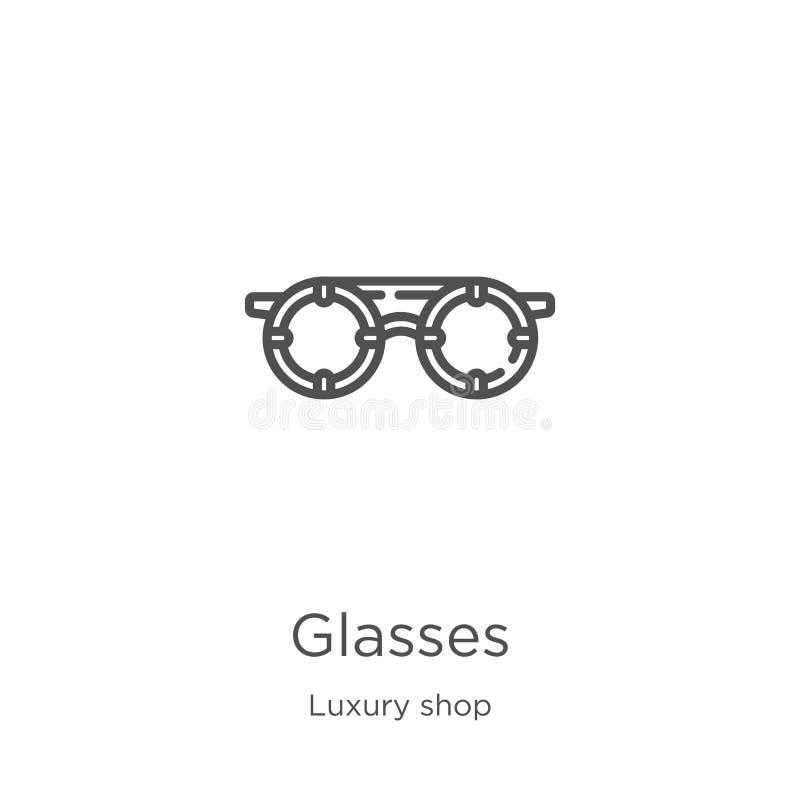 διάνυσμα εικονιδίων γυαλιών από τη συλλογή καταστημάτων πολυτέλειας Λεπτή διανυσματική απεικόνιση εικονιδίων περιλήψεων γυαλιών γ απεικόνιση αποθεμάτων