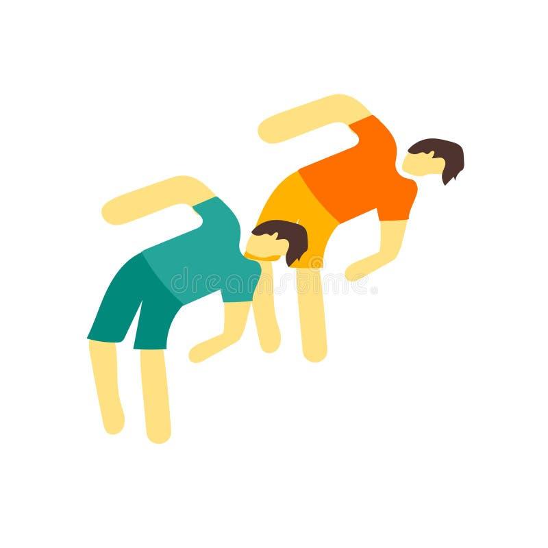 Διάνυσμα εικονιδίων γυμναστικής που απομονώνεται στο άσπρο υπόβαθρο, σημάδι γυμναστικής διανυσματική απεικόνιση