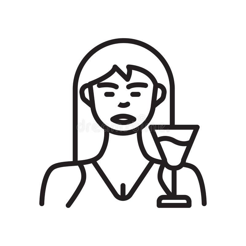 Διάνυσμα εικονιδίων γυναικών που απομονώνεται στο άσπρο υπόβαθρο, σημάδι γυναικών, lin ελεύθερη απεικόνιση δικαιώματος
