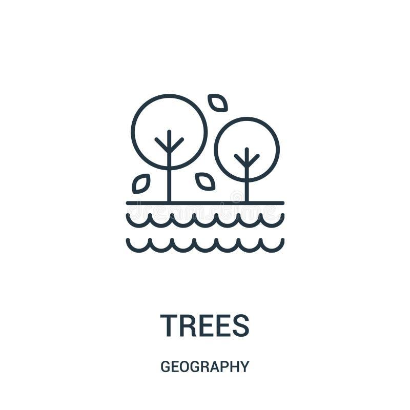 διάνυσμα εικονιδίων δέντρων από τη συλλογή γεωγραφίας Λεπτή διανυσματική απεικόνιση εικονιδίων περιλήψεων δέντρων γραμμών ελεύθερη απεικόνιση δικαιώματος