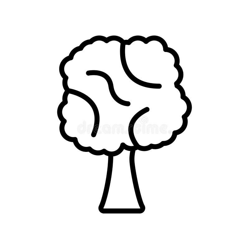 Διάνυσμα εικονιδίων δέντρων που απομονώνεται στο άσπρο υπόβαθρο, σημάδι δέντρων, γραμμή ελεύθερη απεικόνιση δικαιώματος