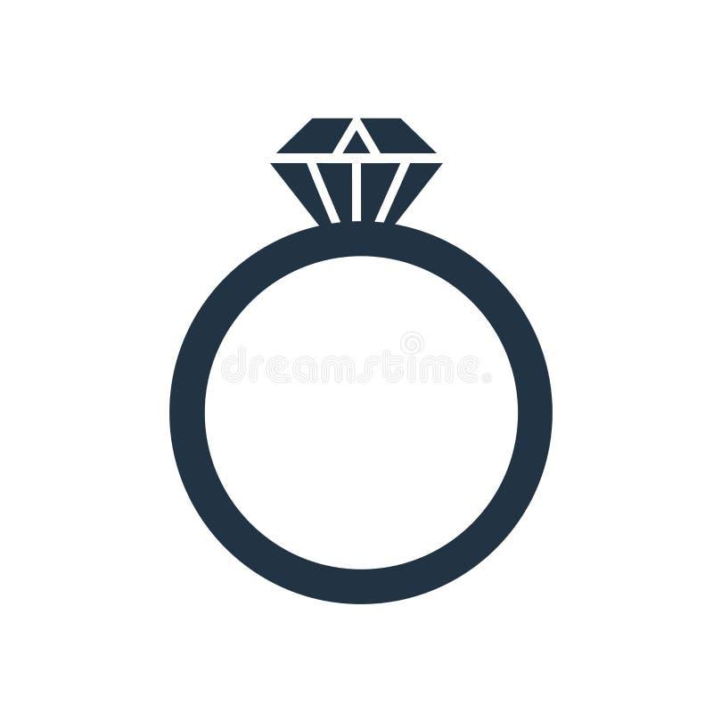 Διάνυσμα εικονιδίων δαχτυλιδιών που απομονώνεται στο άσπρο υπόβαθρο, σημάδι δαχτυλιδιών ελεύθερη απεικόνιση δικαιώματος