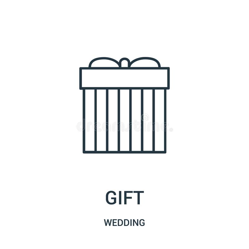 διάνυσμα εικονιδίων δώρων από τη γαμήλια συλλογή Λεπτή διανυσματική απεικόνιση εικονιδίων περιλήψεων δώρων γραμμών απεικόνιση αποθεμάτων