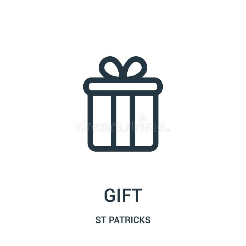 διάνυσμα εικονιδίων δώρων από τη συλλογή του ST patricks Λεπτή διανυσματική απεικόνιση εικονιδίων περιλήψεων δώρων γραμμών Γραμμι ελεύθερη απεικόνιση δικαιώματος