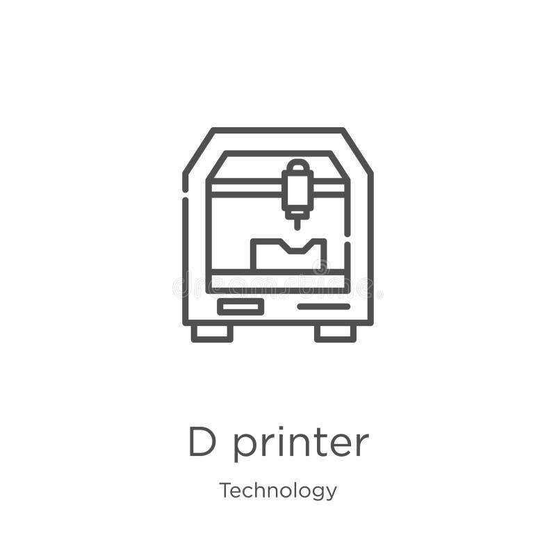 διάνυσμα εικονιδίων εκτυπωτών δ από τη συλλογή τεχνολογίας Λεπτή διανυσματική απεικόνιση εικονιδίων περιλήψεων εκτυπωτών δ γραμμώ διανυσματική απεικόνιση