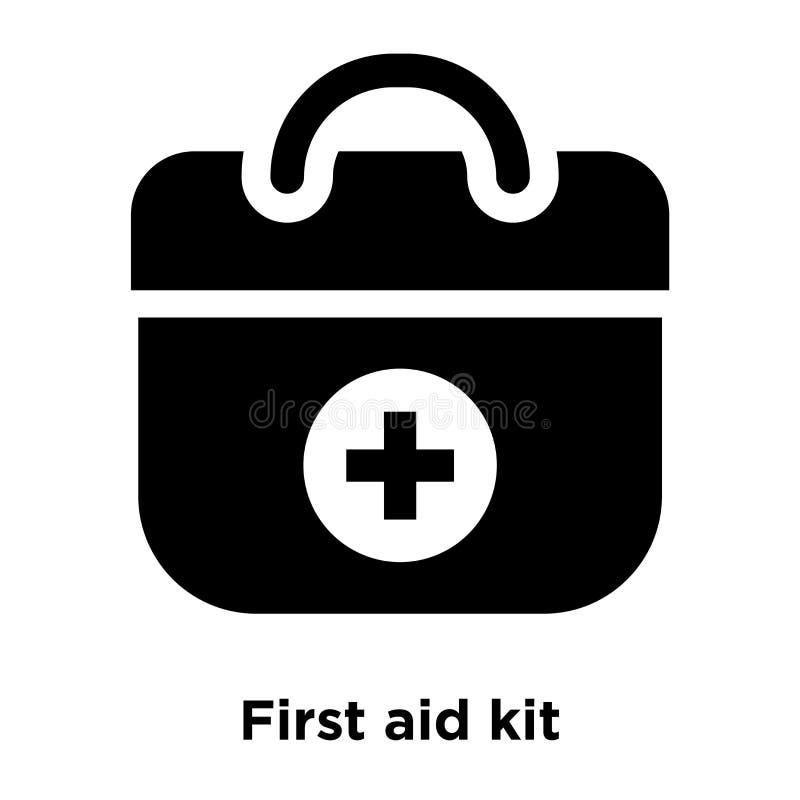 Διάνυσμα εικονιδίων εξαρτήσεων πρώτων βοηθειών που απομονώνεται στο άσπρο υπόβαθρο, λογότυπο con διανυσματική απεικόνιση