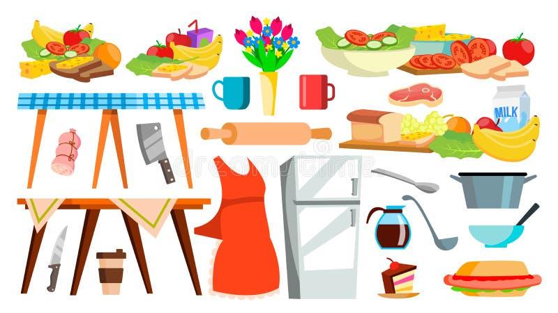 Διάνυσμα εικονιδίων εξοπλισμού κουζινών kitchenware Μαγειρεύοντας εργαλεία τροφίμων applet Απομονωμένη απεικόνιση κινούμενων σχεδ απεικόνιση αποθεμάτων