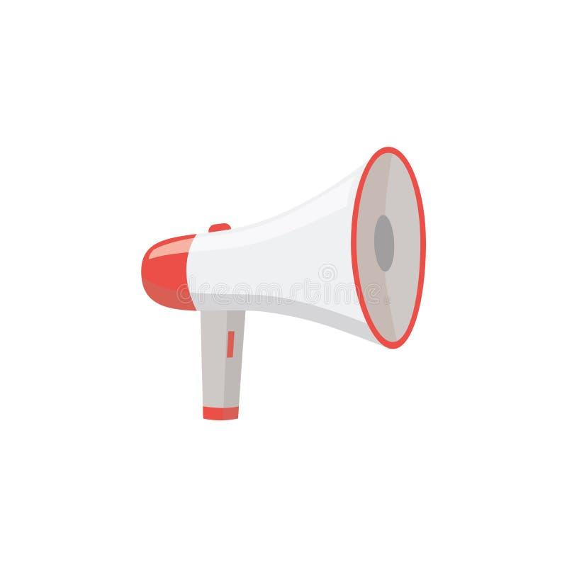 Διάνυσμα εικονιδίων εξοπλισμού συναγερμών έκτακτης ανάγκης μεγάφωνων ή megaphone που απομονώνεται στο λευκό, ελεύθερη απεικόνιση δικαιώματος