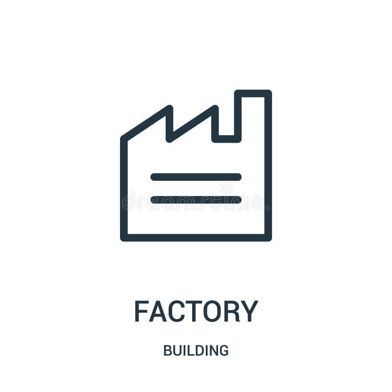 διάνυσμα εικονιδίων εργοστασίων από την οικοδόμηση της συλλογής Λεπτή διανυσματική απεικόνιση εικονιδίων περιλήψεων εργοστασίων γ ελεύθερη απεικόνιση δικαιώματος