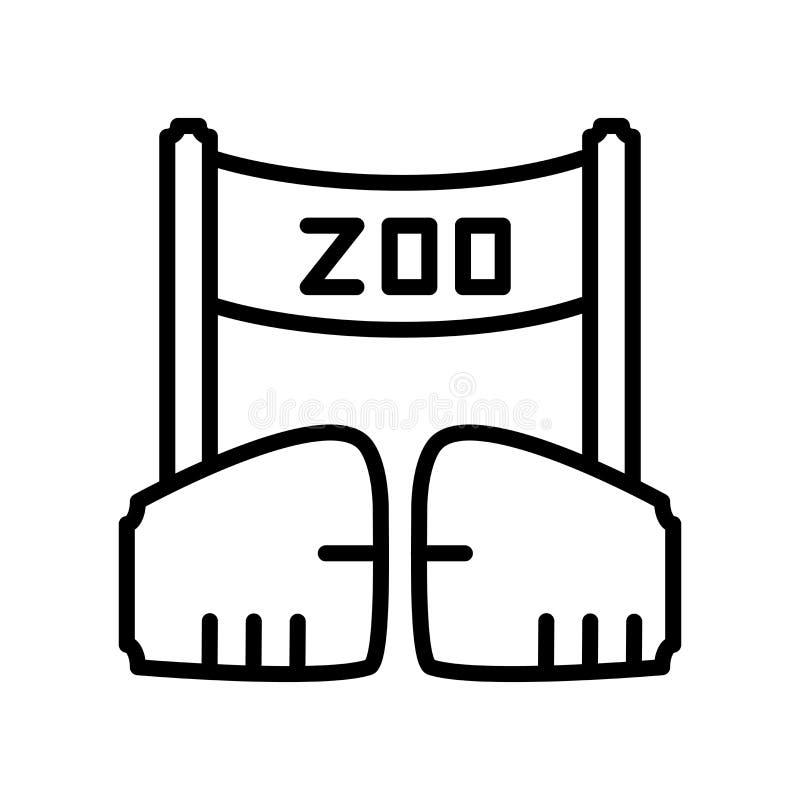 Διάνυσμα εικονιδίων ζωολογικών κήπων που απομονώνεται στο άσπρο υπόβαθρο, σημάδι ζωολογικών κήπων ελεύθερη απεικόνιση δικαιώματος