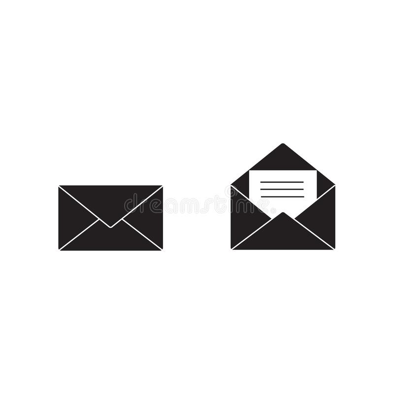 Διάνυσμα εικονιδίων ηλεκτρονικού ταχυδρομείου, σημάδι φακέλων, σύμβολο ταχυδρομείου επίσης corel σύρετε το διάνυσμα απεικόνισης ελεύθερη απεικόνιση δικαιώματος