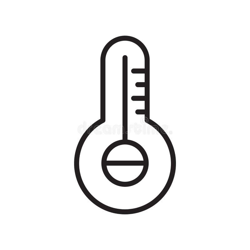 Διάνυσμα εικονιδίων θερμοκρασιών που απομονώνεται στο άσπρο υπόβαθρο, το σημάδι θερμοκρασιών, τη γραμμή ή το γραμμικό σύμβολο και ελεύθερη απεικόνιση δικαιώματος