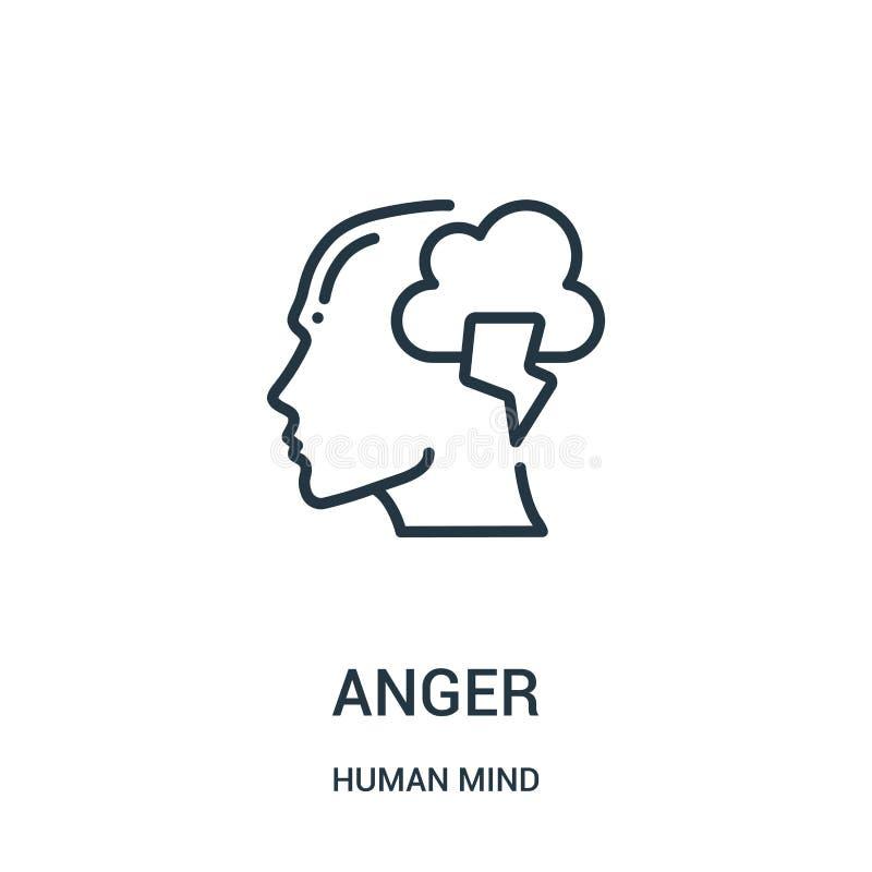 διάνυσμα εικονιδίων θυμού από την ανθρώπινη συλλογή μυαλού Λεπτή διανυσματική απεικόνιση εικονιδίων περιλήψεων θυμού γραμμών Γραμ απεικόνιση αποθεμάτων