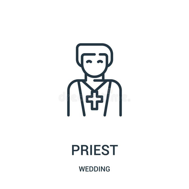 διάνυσμα εικονιδίων ιερέων από τη γαμήλια συλλογή Λεπτή διανυσματική απεικόνιση εικονιδίων περιλήψεων ιερέων γραμμών Γραμμικό σύμ απεικόνιση αποθεμάτων