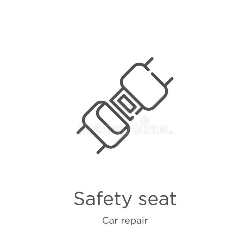 διάνυσμα εικονιδίων καθισμάτων ασφάλειας από τη συλλογή επισκευής αυτοκινήτων Λεπτή διανυσματική απεικόνιση εικονιδίων περιλήψεων απεικόνιση αποθεμάτων