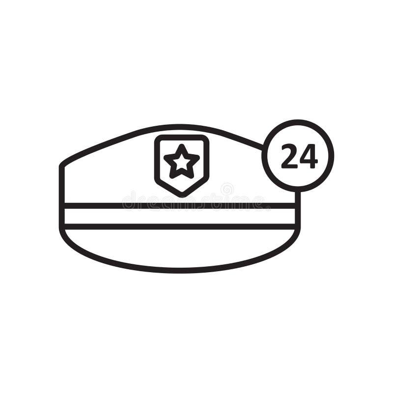 Διάνυσμα εικονιδίων καπέλων αστυνομίας που απομονώνεται στο άσπρο υπόβαθρο, το σημάδι καπέλων αστυνομίας, το σημάδι και τα σύμβολ απεικόνιση αποθεμάτων