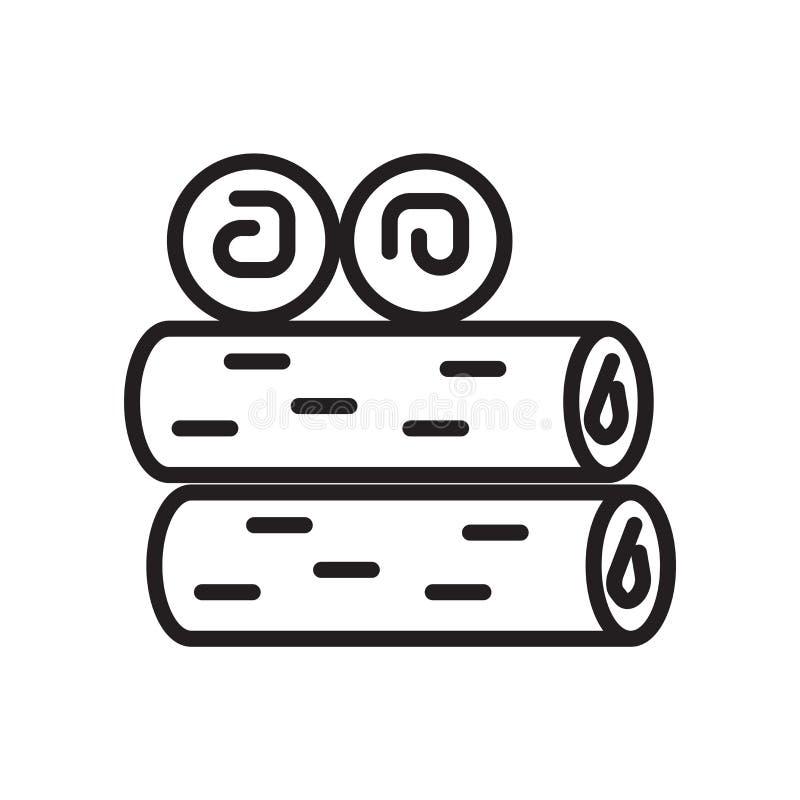 Διάνυσμα εικονιδίων καυσόξυλου που απομονώνεται στο άσπρο υπόβαθρο, το σημάδι καυσόξυλου, το γραμμικά σύμβολο και τα στοιχεία σχε διανυσματική απεικόνιση