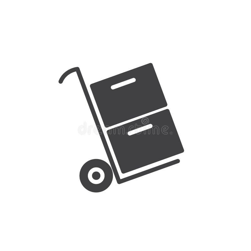 Διάνυσμα εικονιδίων κιβωτίων μεταφοράς καροτσακιών απεικόνιση αποθεμάτων