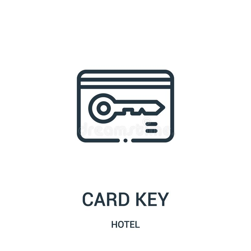 διάνυσμα εικονιδίων κλειδιών καρτών από τη συλλογή ξενοδοχείων Λεπτή διανυσματική απεικόνιση εικονιδίων περιλήψεων linecard βασικ απεικόνιση αποθεμάτων
