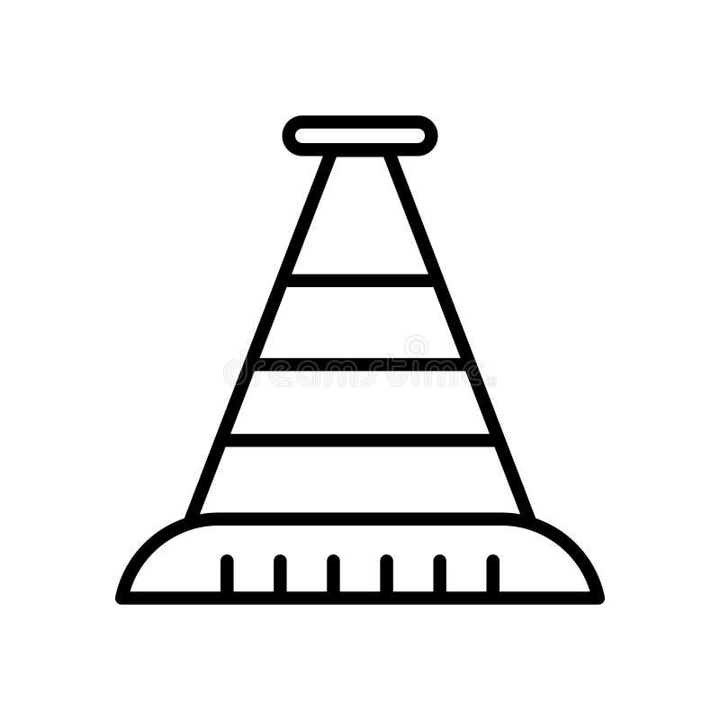 Διάνυσμα εικονιδίων κώνων που απομονώνεται στο άσπρο υπόβαθρο, το σημάδι κώνων, τη γραμμή ή το γραμμικό σημάδι, σχέδιο στοιχείων  απεικόνιση αποθεμάτων