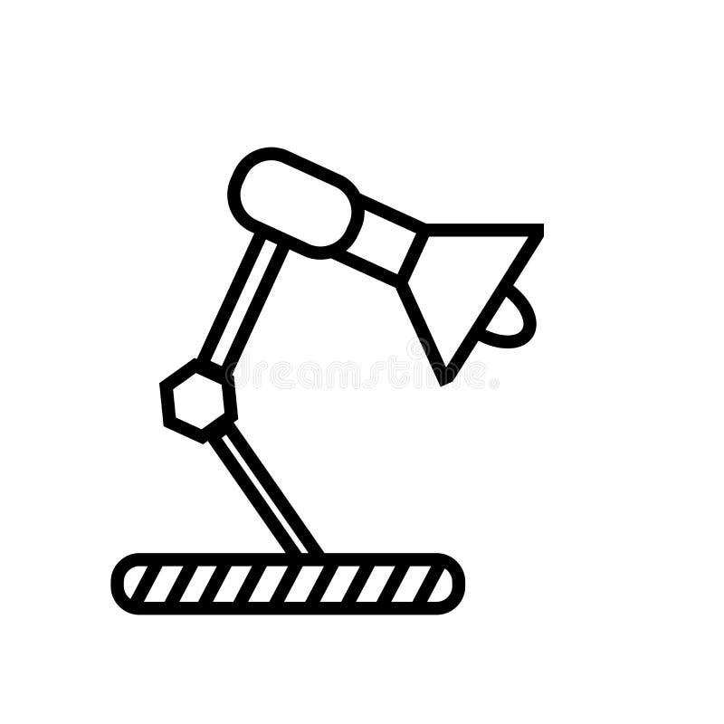 Διάνυσμα εικονιδίων λαμπτήρων γραφείων που απομονώνεται στο άσπρο υπόβαθρο, Si λαμπτήρων γραφείων ελεύθερη απεικόνιση δικαιώματος