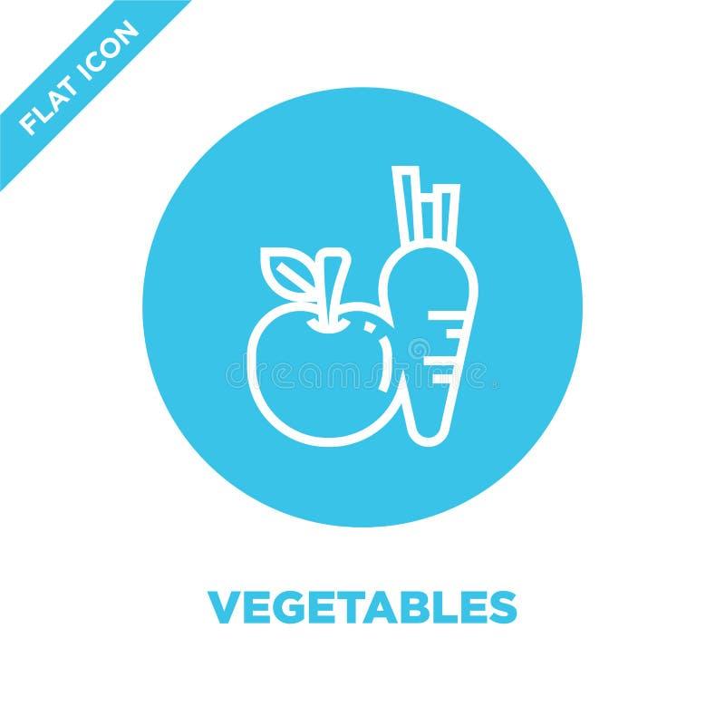 διάνυσμα εικονιδίων λαχανικών από την υγιή συλλογή ζωής Λεπτή διανυσματική απεικόνιση εικονιδίων περιλήψεων λαχανικών γραμμών Γρα διανυσματική απεικόνιση