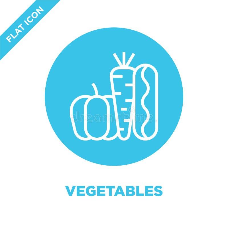 διάνυσμα εικονιδίων λαχανικών από τη συλλογή στοιχείων φιλανθρωπίας Λεπτή διανυσματική απεικόνιση εικονιδίων περιλήψεων λαχανικών διανυσματική απεικόνιση