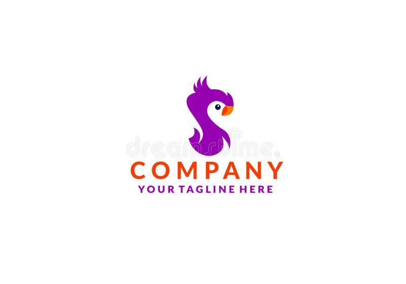 Διάνυσμα εικονιδίων λογότυπων πουλιών Cockatoo ελεύθερη απεικόνιση δικαιώματος