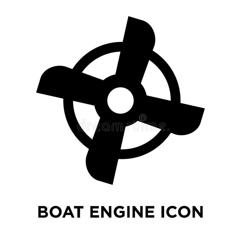 Διάνυσμα εικονιδίων μηχανών βαρκών που απομονώνεται στο άσπρο υπόβαθρο, conce λογότυπων διανυσματική απεικόνιση