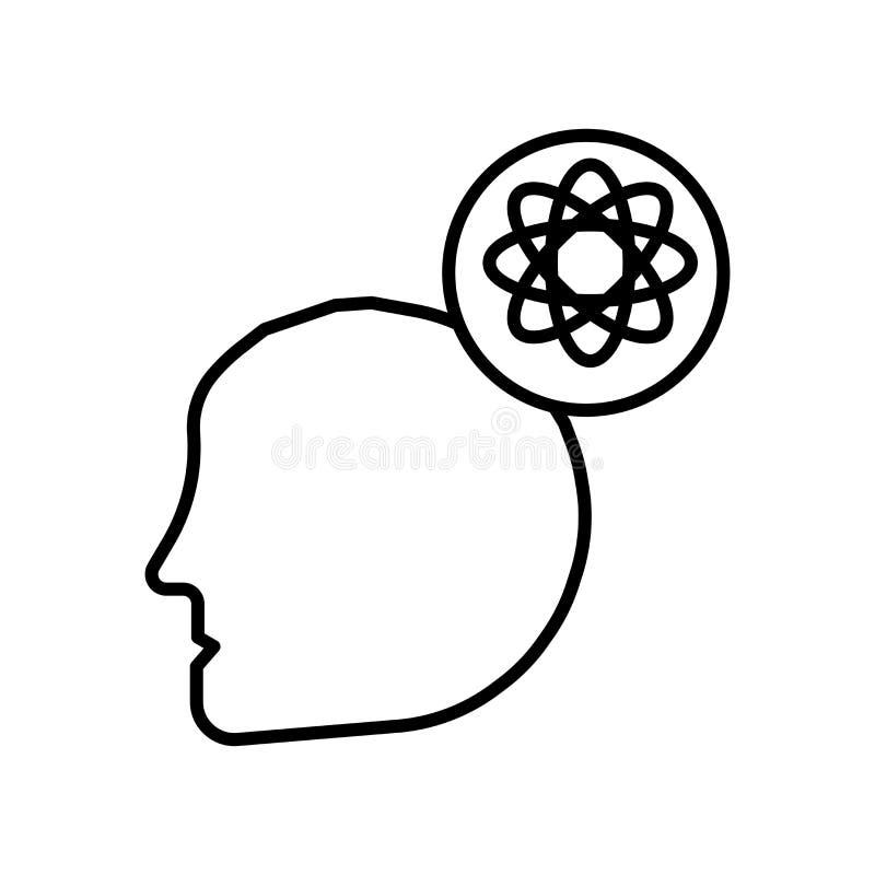 Διάνυσμα εικονιδίων μυαλού που απομονώνεται στο άσπρο υπόβαθρο, το σημάδι μυαλού, το σημάδι και τα σύμβολα στο λεπτό γραμμικό ύφο απεικόνιση αποθεμάτων