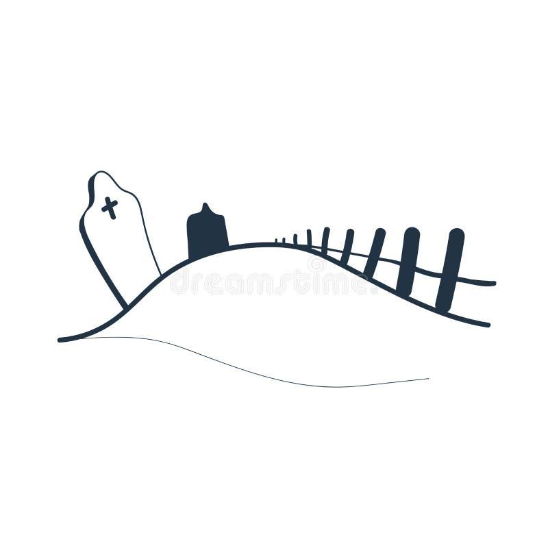Διάνυσμα εικονιδίων νεκροταφείων που απομονώνεται στο άσπρο υπόβαθρο, σημάδι νεκροταφείων απεικόνιση αποθεμάτων