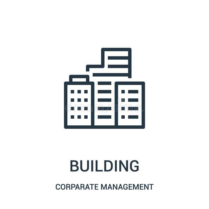 διάνυσμα εικονιδίων οικοδόμησης από την εταιρική διοικητική συλλογή Λεπτή διανυσματική απεικόνιση εικονιδίων περιλήψεων κτηρίου γ ελεύθερη απεικόνιση δικαιώματος